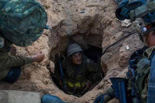 Israeli troops in a tunnel in the Gaza Strip in July 2014. IDF photo