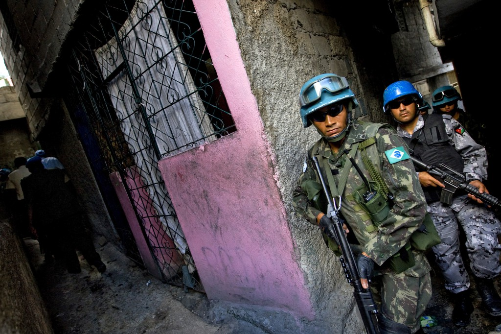 Brazilian and Jordanian peacekeepers patrol a slum in Haiti. U.N. Photo