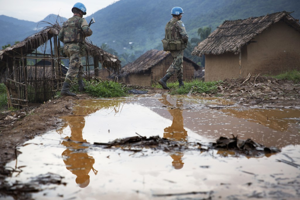 Uruguayan peacekeepers patrol a Congolese town, December 2013. U.N. photo