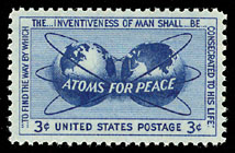 "Werbebriefmarke des ""Atoms for Peace"" - Programms. Quelle: Wikipedia"