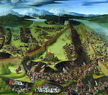 The Battle of Pavia, fought by Charles V against the Kingdom of France on the morning of 24 February 1525.