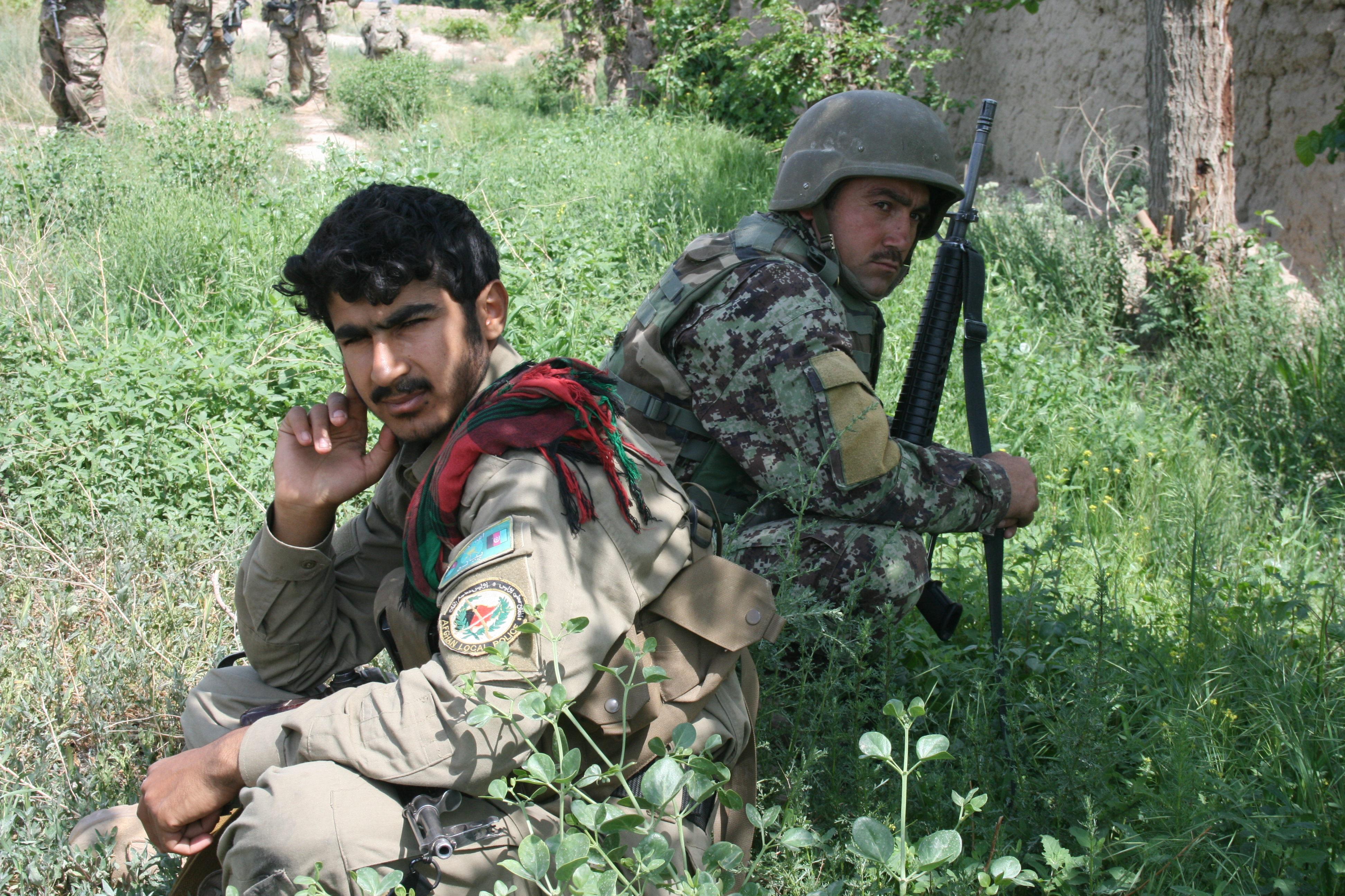 Afghan army troops in Zari in April 2013. <em>Photo: David Axe</em>