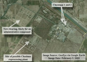 February 2, 2010 GeoEye imagery on Google Earth showing an overview of the Chashma nuclear site in Pakistan.  The Chasnupp reactors can be seen in the northeast corner.  There appears to be a new clearing off to the west, likely intended for construction of administrative buildings.  The compound in the southwest corner of the site contains what ISIS has speculated may be the previously abandoned Chashma reprocessing facility.