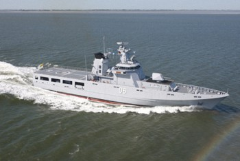 The Darussalam-class offshore patrol vessel of Brunei that took part in Exercise Pelican 2011.