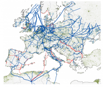 "The European natural gas network: 186,132 km, 2,649 nodes (compressor and city gate stations, LNG terminals, etc.), 3,673 Pipeline segments. The existing network is shown in blue; planned pipelines in red. Population density is represented in dark green; larger urban areas are coloured light blue (source: R. Carvalho, L. Buzna, F. Bono, M. Masera, D.K. Arrowsmith and D. Helbing, ""Resilience of natural gas networks during conflicts, crises and disruptions"", presented by R. Carvalho at the Open University, April 4, 2014)."