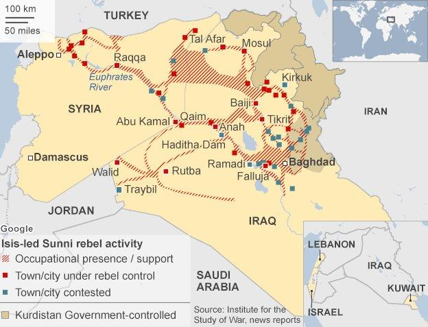 ISIS positions in August 2014.
