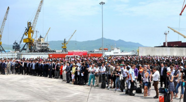 Wharf 03 Rajin Port Ceremony (KCNA 18JUL14)