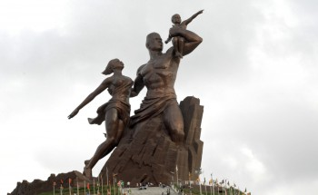 Le Monument de la Renaissance africaine is a 49 m tall bronze statue located on top of one of the twin hills known as Collines des Mamelles, outside of Dakar, overlooking the Atlantic Ocean in the Ouakam suburb. It is the tallest statue in Africa.