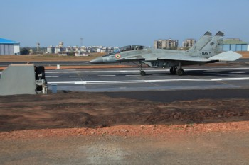 MIG-29K Catches Arresting Cable at INS Hansa.
