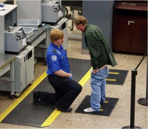 A visibly frustrated traveler pulled down his pants during a pat down by a TSA agent at a security checkpoint in the Salt Lake International Airport, Tuesday, November 23, 2010.
