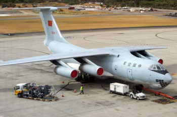 PLAAF Ilyushin IL-76TD 20541 at the Perth International Airport, Australia, March 26, 2014 (Photo: Jim Woodrow).