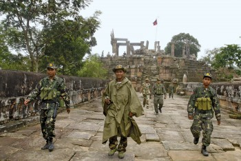 Cambodian troops make their way through the ancient temple of Preah Vihear in October 2008 following renewed hostilities with Thailand over a long-standing border dispute.