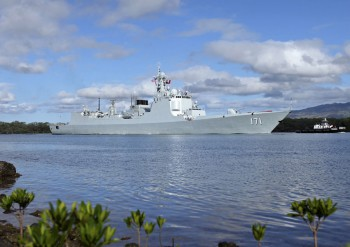 Chinese People's Liberation Army Navy (PLAN) destroyer Haikou (171) at Joint Base Pearl Harbor-Hickam in Hawaii.