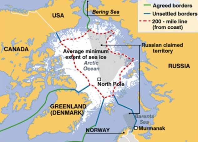 Territories in the Arctic Ocean and Barents Sea claimed by Russia (Source: Foreign Policy Digest)
