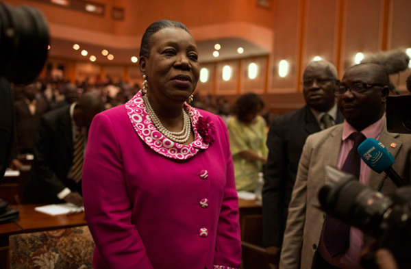 """I call on my children, especially the anti-balaka, to put down their arms and stop all the fighting. The same goes for the ex-Séléka - they should not have fear. I don't want to hear any more talk of murders and killings. Starting today, I am the president of all Central Africans, without exclusion."" --- Catherine Samba-Panza, interim president of the Central African Republic after her election (Photo: Siegfried Modola)."