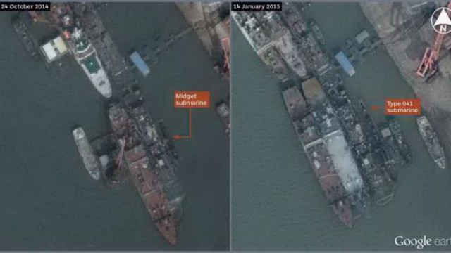 DigitalGlobe imagery published on Google Earth showing what appears to be a midget submarine at the Wuchang shipyard in Wuchang, China (30.534522 N / 114.283185 E). A Type 041 conventional submarine berthed at the same site in January is shown for comparison. (IHS/Google, DigitalGlobe)