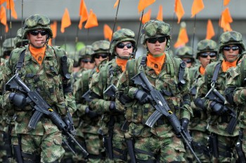 Colombian Special forces soldiers parade during the celebrations of the 203rd Anniversary of the Independence of Colombia, in Bogota, Colombia, on July 20, 2013.