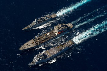 FGS Hessen (Top), USNS Pecos (Middle) and FS Siroco (Bottom).