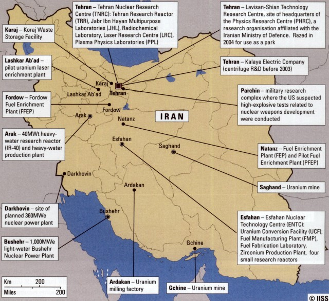 "Die iranischen Nuklearanlagen (Quelle: ""Iran's nuclear, chemical and biological capabilities"", International Institute for Strategic Studies, Februar 2011, p. 50)"