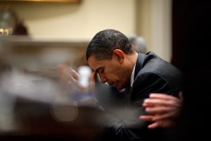 President Barack Obama reflects during a budget meeting in the Roosevelt Room 29.01.09. Official White House Photo by Pete Souza