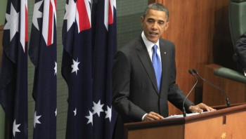 U.S. President Barack Obama addresses the Australian Parliament in Canberra, Thursday, Nov. 17, 2011.