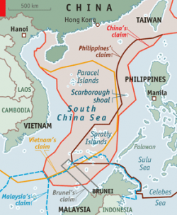 Claims in the South China Sea (Source: The Economist).
