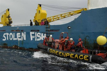 Greenpeace activists paint 'Stolen Fish' on the hull of the illegal cargo vessel Binar 4 before occupying it to prevent the unloading of fish stolen from Guinean waters.