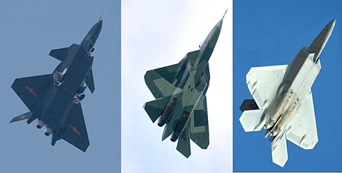 J-20, Russian T-50 and U.S. F-22. Defense Tech collage.